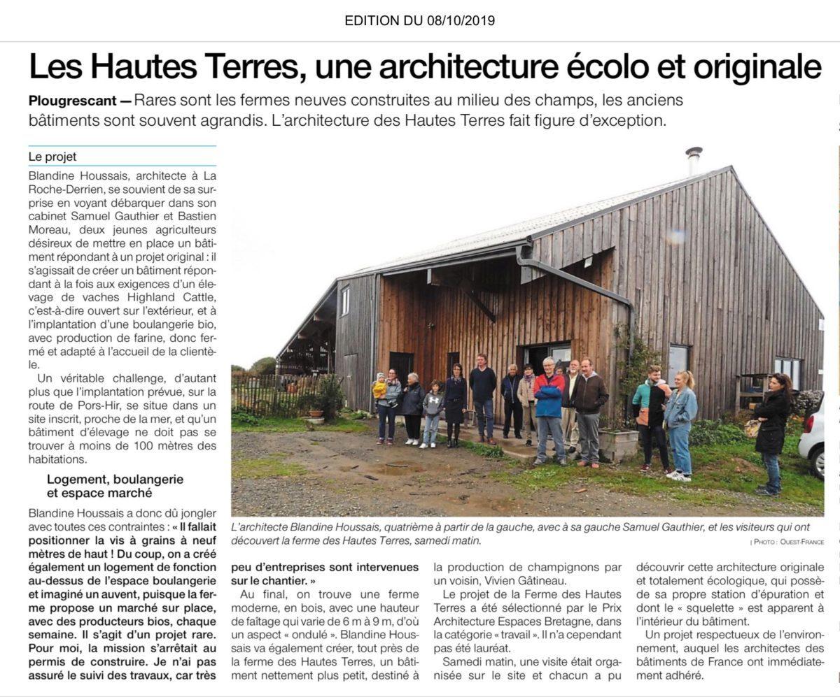 Article Ouest France Les visiteurs découvrent la ferme des Hautes Terres