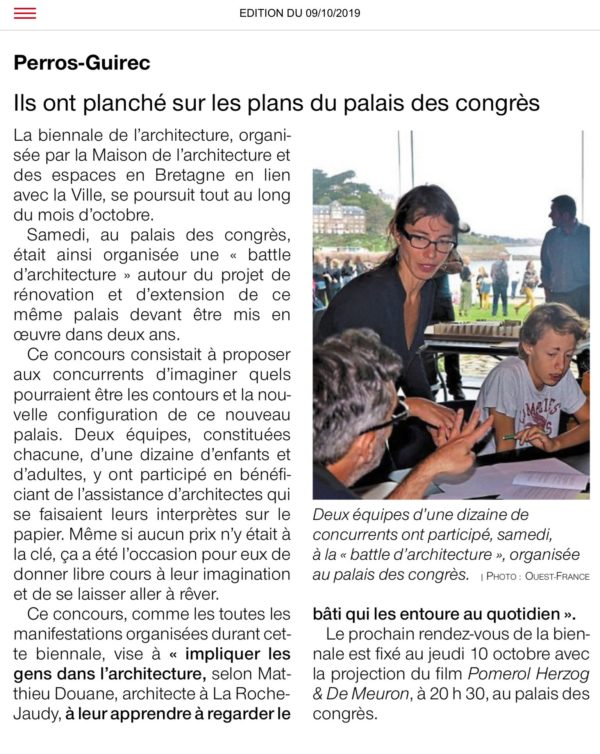 Article du Ouest-France Biennale Architecture