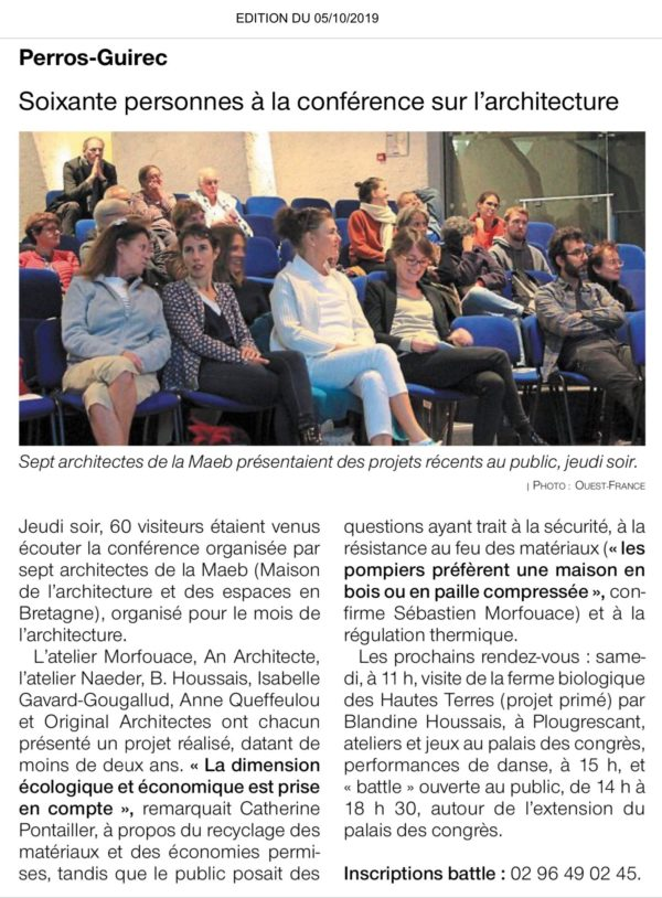Battle d'Architecture Bretagne - Article du Ouest-France