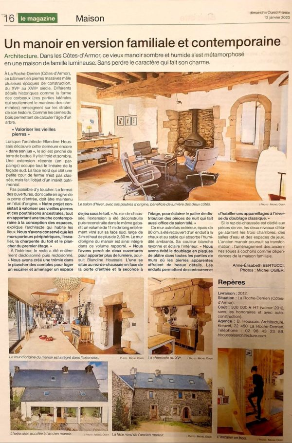 Article de journal rénovation manoir