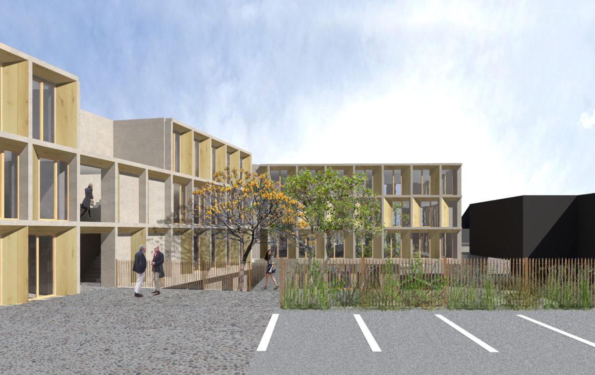 Cour immeuble de bureaux Saint Brieuc