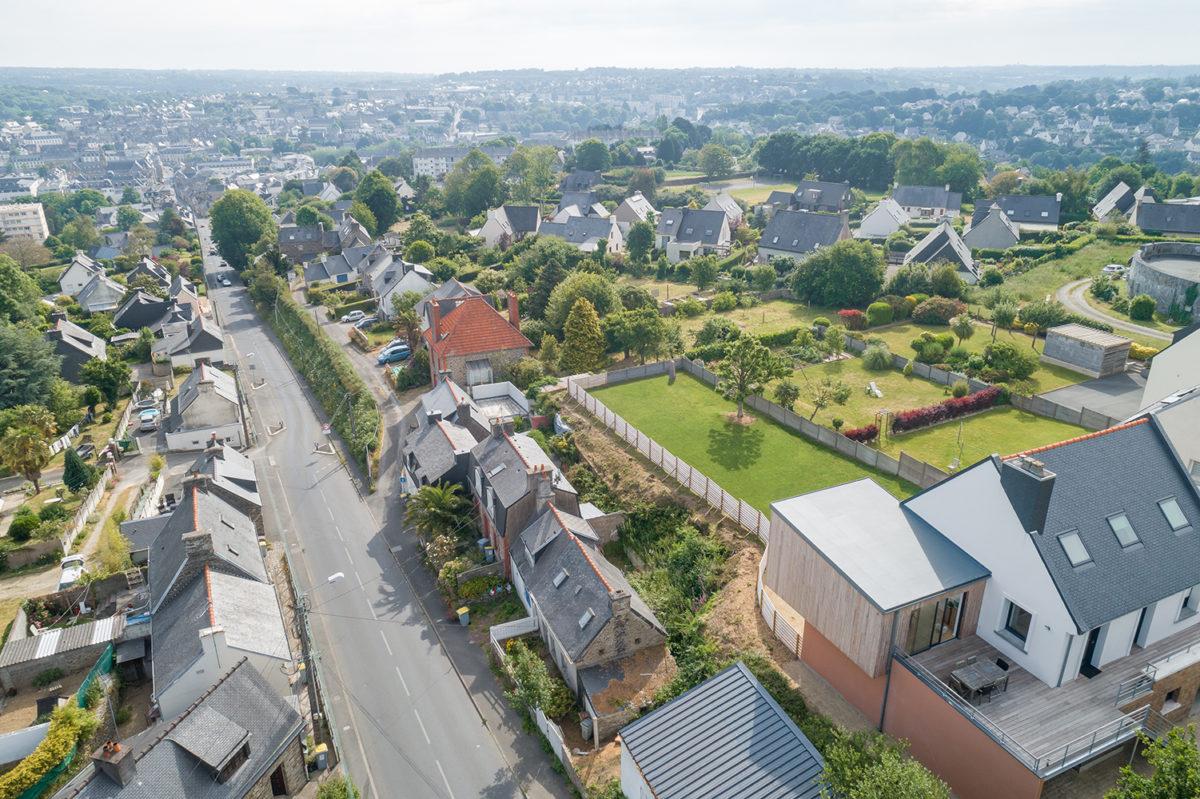 Extension bois maison Lannion vue du ciel - B. HOUSSAIS Architecture